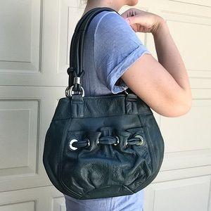 B MAKOWSKY deep teal leather shoulder bag